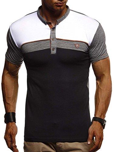 LEIF NELSON Herren Sommer T-Shirt Polo Kragen Slim Fit Baumwolle-Anteil | Basic schwarzes Männer Poloshirts Longsleeve-Sweatshirt Kurzarm | Weißes Kurzarmshirts lang | LN1420 Anthrazit Medium