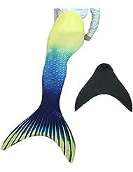 Traje de baño de la sirena de la mujer de la cola para nadar con sirena Aleta de natación del traje de baño (A4212-amarillo, M)