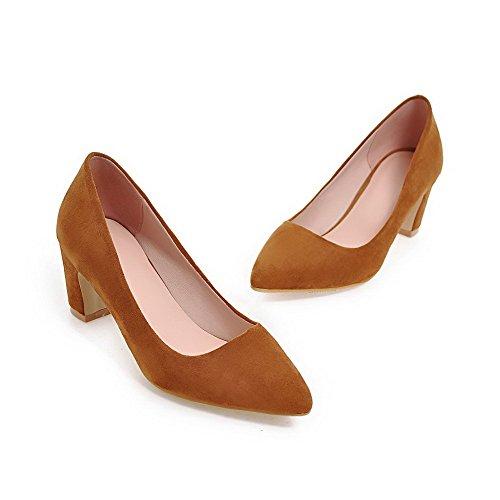 VogueZone009 Femme Tire Pointu à Talon Correct Matière Mélangee Couleur Unie Chaussures Légeres Jaune