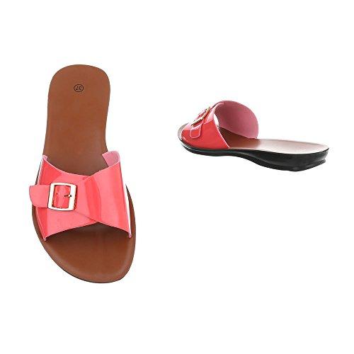 Ital-Design Chaussures Femme Sandales Plat Mules Rouge