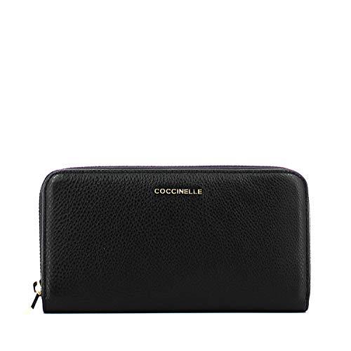 Coccinelle Metallic Soft Zip Around Wallet L Noir