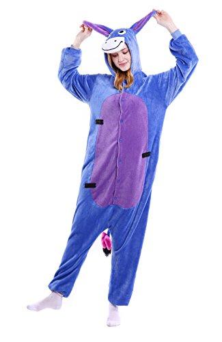 Dingwangyang Uinisex Erwachsene Pyjama Onesie Kigurumi Cosplay Kost¨¹me Tier Overall Shrek Esel-L