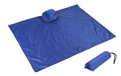 qseven Multifunktional leichter Regenmantel mit Kapuze Wandern Radfahren Regen Poncho Regen-Mantel Outdoor Camping Zelt Matte, blau Radfahren Mantel