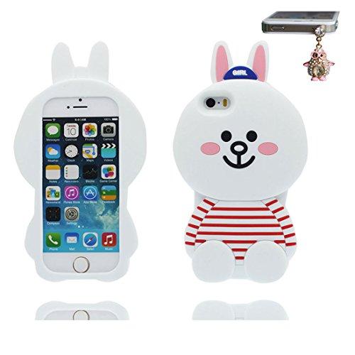 iPhone 5 Coque, Étui Cover Housse pour iPhone 5S 5C 5G, TPU Rubber Skin Soft Shell iPhone SE Case, Résistant à la poussière Scratch (3D Cartoon Oreilles de porc Rose) & Bouchon anti-poussière blanc