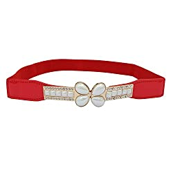 SRI Women's Butterfly Shape Interlocking Buckle Elastic Cinch Waist Belt- Red