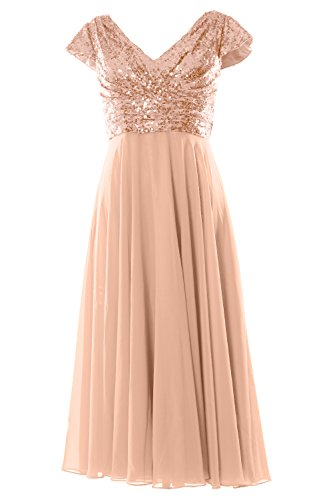 MACloth Cap Sleeve V Neck Sequin Chiffon Tea Length Bridesmaid Dress Formal Gown (Custom Size, Rose Gold) (Sleeve Cap Top V-neck)