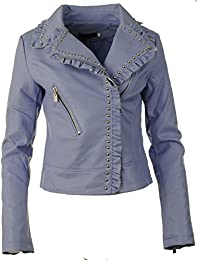 Womens Faux Leather PU Cropped Ruffled Frilled and Studded Collared Zip Trim Cuffs Smart Biker Ladies Jacket