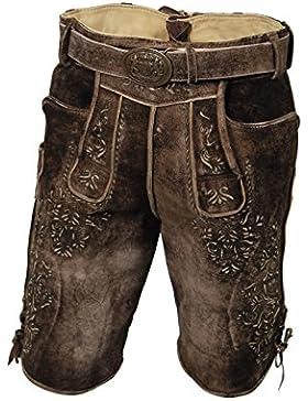 Herren Ziegen-Lederhose, kurze Trachten Lederhose, Nähte aus Hirschleder, braun fenchel, mit Gürtel