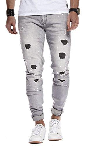LEIF NELSON Herren Hose Jeans Stretch Jeanshose Chino Cargo Hose Jogger Freizeithose Denim Slim Fit LN9905BL; W29L32, Grau |