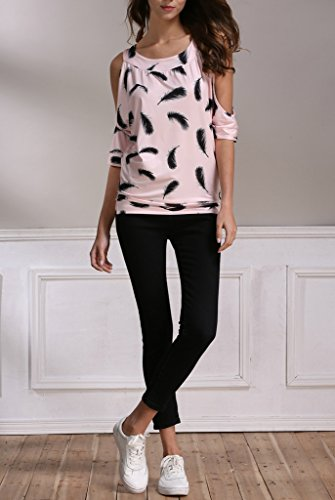 Bigood Vogue Imprimé Plume T-shirt Femme Manche Courte Top Épaule Nu Rose