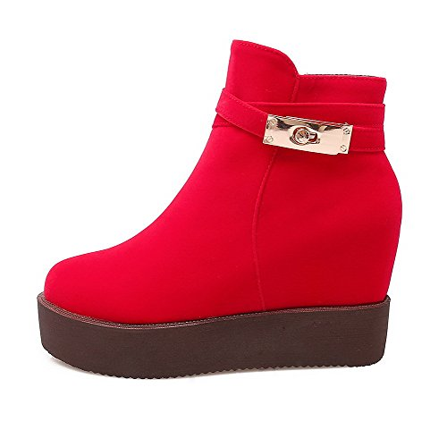 AllhqFashion Damen Reißverschluss Hoher Absatz Mattglasbirne Niedrig Spitze Stiefel Rot