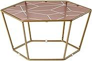طاولة قهوة دائرية سداسية الشكل للاثاث المعاصر في غرفة المعيشة او المجلس، اطار زجاجي مقسى ملون لغرفة النوم، طاو
