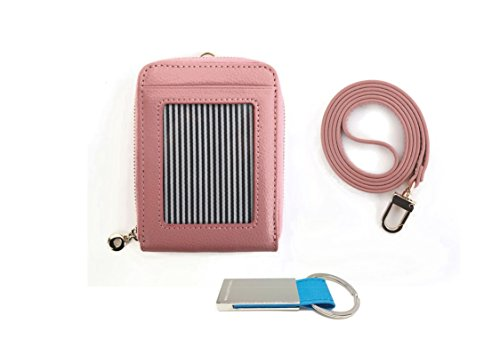 genuine-leather-id-window-credit-card-badge-holder-bifold-wallet-with-neck-strap-indi-pink