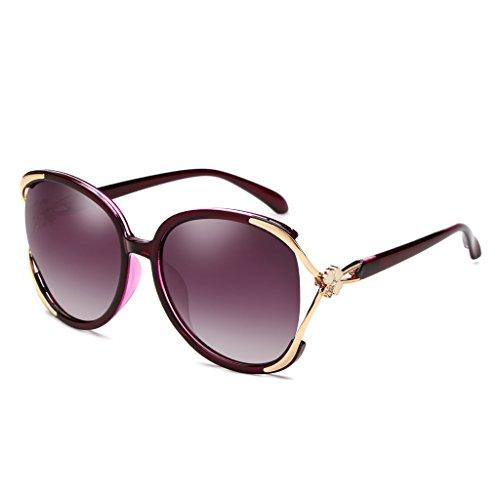 Moolo Sonnenbrille Sonnenbrille Stern mit dem Absatz Elegante große Box polarisierte Dame war dünn Runde Gläser Sonnenbrille Lange Gesicht Flut Menschen (Farbe : Dark Purple)