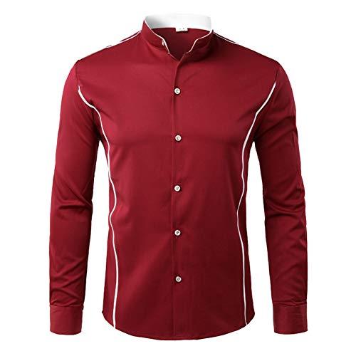 Kontrast Kragen Kleid Shirt (PARKLEES Kontrast Seite Streifen Design Männer HemdHerbst Neue Herren Mandarin Kragen Langarm Kleid Shirt Business Hochzeit Smoking Shirts)