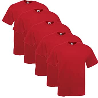 Fruit of the Loom 5er Pack T-Shirts, rot, Größe S