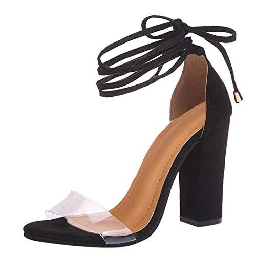 Minetom Sandalen Damen Riemchen Sandaletten High Heels 10 cm Party Blockabsatz Shoes Elegante Abendschuhe Übergröße Mode Schuhe Sommer Schwarz EU 43