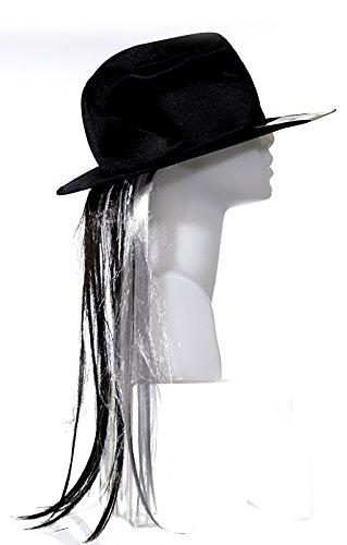 Preis am Stiel 2X Schwarzer Hut mit Haar   Karneval   Fasching   Kostümzubehör   Verkleidung   ()