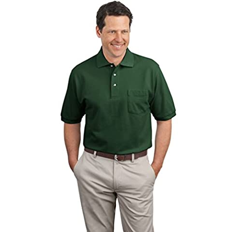 Port Authority Men's Pique Knit Polo with Pocket - Dark Green K420P XL
