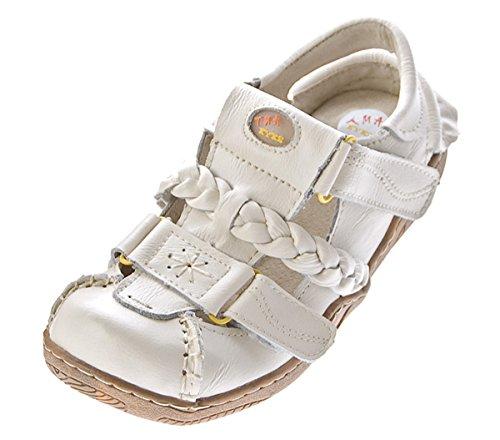 TMA Damen Leder Sandalen Comfort Schuhe Used-Look echt Leder Ballerinas Slipper TMA 1335 Gr. 36 - 42 Weiß