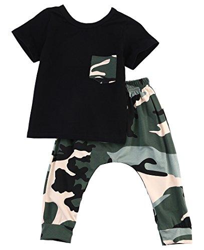 Kleine Jungen Kurzarm Baumwolle T-Shirt und Camouflage-Hosen-Outfit (0-6 Monate, Schwarz)