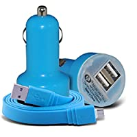 (Baby Blue) Honor 7X Universal Compact design 12v Quick Compact Mini Bullet USB Dual Port In Car Charger & 2x Micro USB Flat 1 Metre Data Snyc PC Tablet Charging Cable Exclusive To i -Tronixs