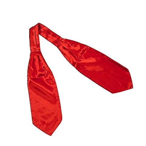 TOOGOO(R) Tuxedo De Mariee en Satin Auto Attache Ascot Cravat Echarpe Cravate pour homme - Rouge