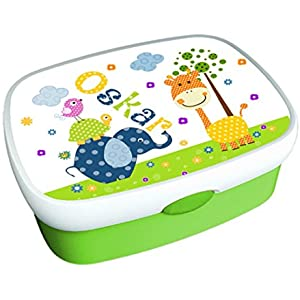 Brotdose, mit Namen, Kindergarten, Schule, Kind, Giraffe, Elefant, Junge, Mädchen, grün, personalisiert, Lunchbox, Vesperdose, Brotzeitdose