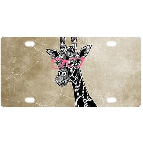 Fashion animale stile Giraffe rosa occhiali arte auto accessori cornice targa in metallo (nuovo) 30,5x 15,2cm