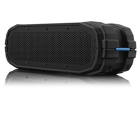 BRAVEN BRV-X Outdoor Bluetooth Lautsprecher | Wasserdicht nach IPX7| Integrierte 5.200mAh Powerbank zum Laden von Smartphones |12 Stunden Musik-Wiedergabe - Schwarz/Blau