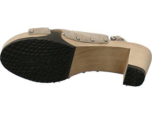 Softclox Sandalette mit Holzboden Olivgold (Hazelnut)