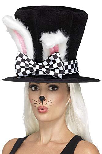 Smiffys Damen Teeparty Hasen Zylinder mit Hasenohren, One Size, Schwarz und Weiß, (Alice Kostüm Für Erwachsene)