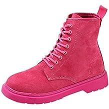 Zapatos de mujer Botas de tacón plano para mujer Otoño invierno Plataforma Grueso Con cordones Al aire libre Casual Corto Botines Martín Botas LMMVP (38, Rosa Caliente)