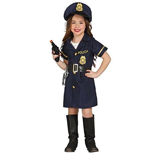 Kinderkostüm Polizistin Mädchen Kleid blau Polizei Uniform  (5-6 Jahre)