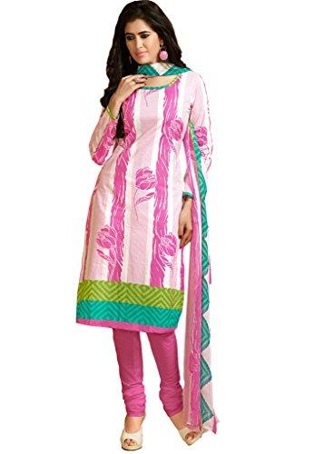 Pink & White Colour Foux Cotton Casual Wear Floral Print Churidar Suit