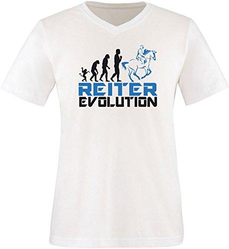 EZYshirt® Reiter Evolution Herren V-Neck T-Shirt Weiß/Schw/Blau
