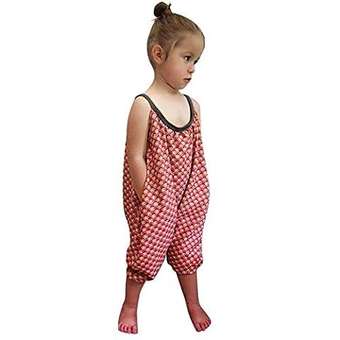 OverDose,Bambin Enfant BéBé Filles Les Bretelles Barboteuse Polka Dot Combinaisons PièCe Un Pantalon VêTements (6T, Rouge)