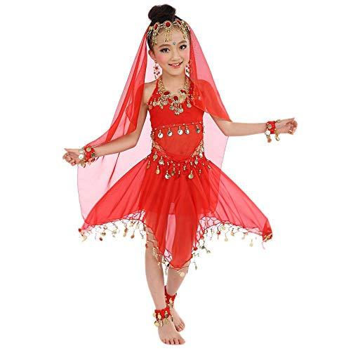 Katze Kind Kostüm Tanz - BaZhaHei Kinder Mädchen Bauchtanz Outfit Kostüm Indien Dance Pailletten Halloween Karneval Kostüme Komplet Bauchtanz Kinder Bauchtanz Ägypten Tanz Tuch Kleidung Top + Rock