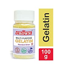 CROWN Gelatin 100g | Multipurpose | Standard Silver Grade | FSSAI Approved | Halal | 99% Protein | Spl. for Making DIY Sweet & Jam, DIY Peel Off Mask, Blackheads & Whiteheads Remover | Effective for Joint Pain