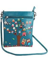 Stylish Multi Color Printed PU Leather Sling Bag For Girls / Women / Ladies 3 Zipper Pocket Cross Body Bag By... - B073RJRD8K