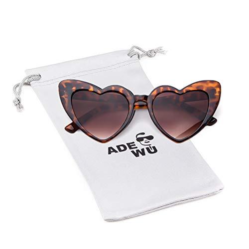 ADEWU Herzform Sonnenbrille Mode Retro Brille Damen Frauen (A - Leopard)