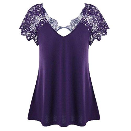 iHENGH Damenmode V-Ausschnitt Spitze Kurzarm Trim Cutwork T-Shirt Tops Übergröße, XL-5XL(XXXX-Large,Lila) -