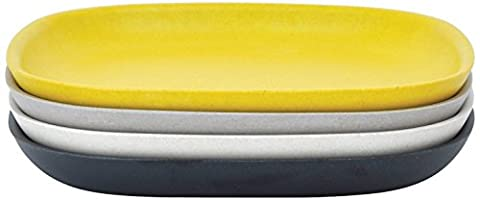 BIOBU gusto by eKOBO 34628 assiettes à salade - 1 (noir/gris/blanc/jaune citron