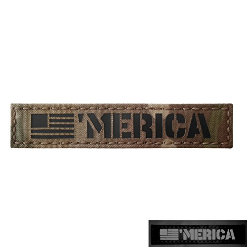 Merica 1x5 Multicam Infrared IR America USA Flag Name Branch Tape Tab IFF Morale Fastener Patch