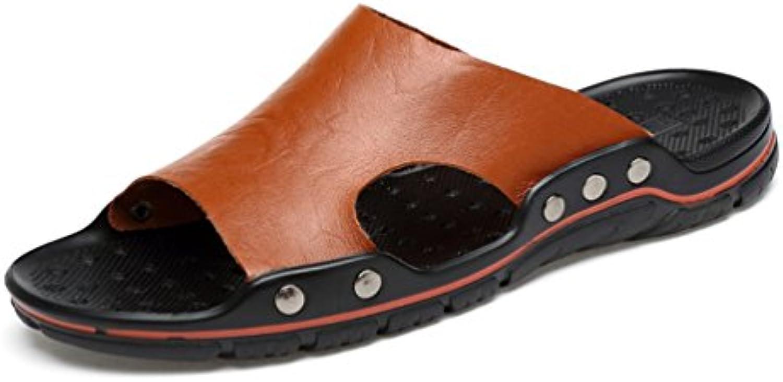Männer Casual Sandalen Sommer Mens Pantoffeln Strandsandalen Echte Kuh Leder Flip Flop