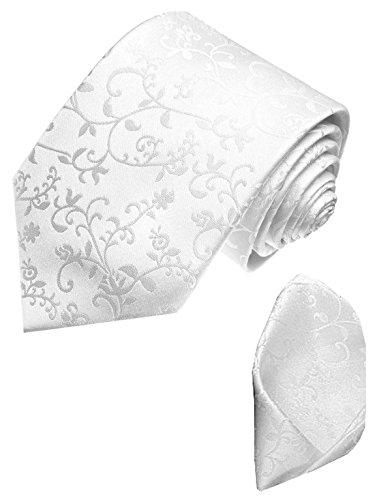 LORENZO CANA Set aus 100% Seide - Weisse Krawatte mit Einstecktuch Ranken Krawattenset Hochzeit Festkrawatte - 84348