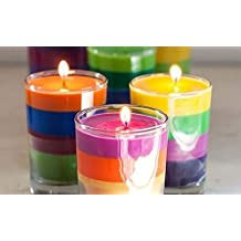 MAXABLE Scented Rainbow Color Chakra Glass Prayer Devotional Candle, Hand Poured Premium Wax Candles Promotes Positive Energy, Aids Meditation & Relaxation (Set of 3)