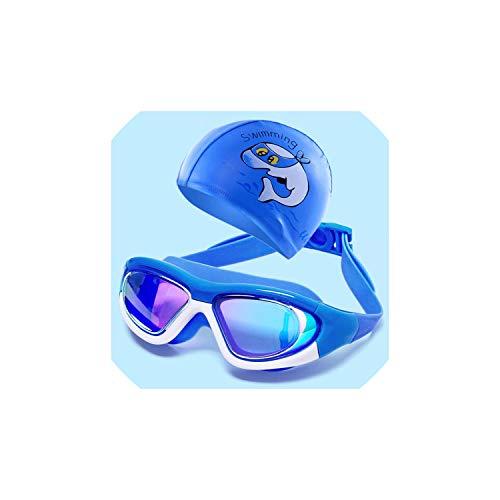 Limier Aurora Schwimmbrille-Anti-Fog Schwimmbrille Einstellbare UV-Schutz,Spiegel Blau