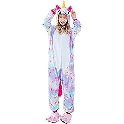Unicornio Pijamas Cosplay Unicorn Disfraces Animales Franela Monos Unisex-adulto ropa de dormir Disfraces de fiesta (S, Estrella)