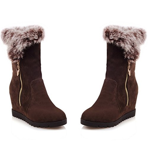 TAOFFEN Damen Winter koreanische Art Wildleder -Absatzschuhe Knöchel zunehmender Höhe Schneeschuhe mit Kunstfell Braun